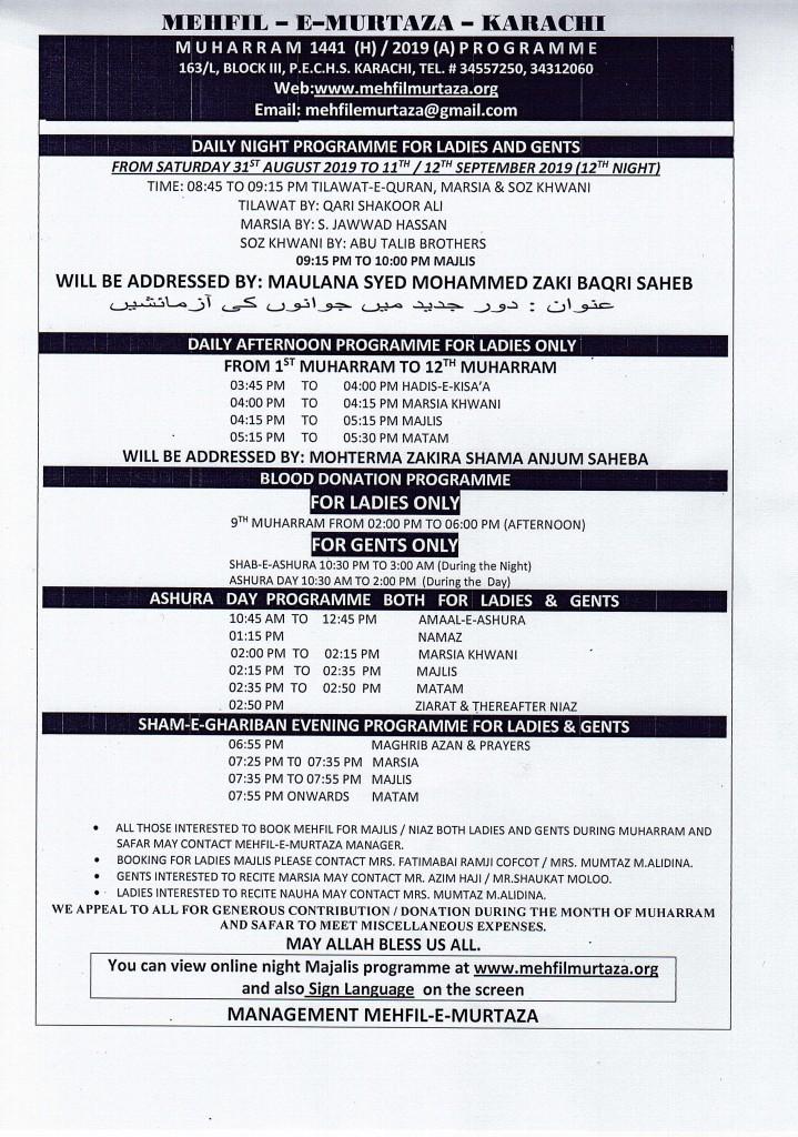 MUHARRAM 1441-2019 MAJALIS SCHEDULE